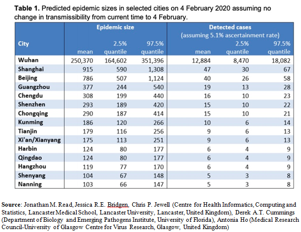 Predicted Epidemic Sizes in Selected Cities Table