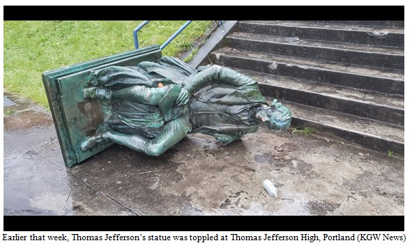 Thomas Jefferson's Toppled Statue Image