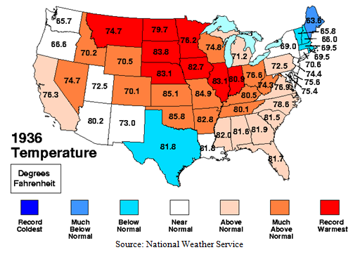 United States Temperature in 1936 Pictograph